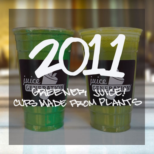 Photo: 2 green juices in bio-degradable cups